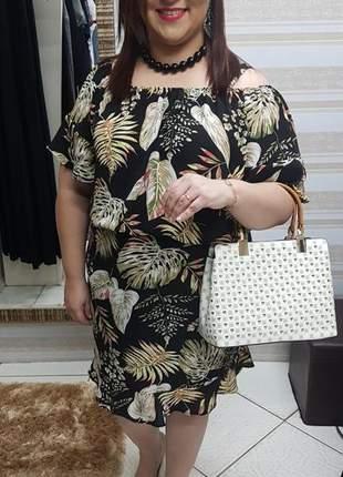 Vestido ciganinha em crepe plus size
