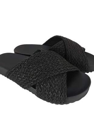 Chinelo tiras sapatoweb tranças preto