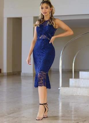 Vestido azul midi renda