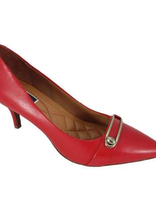 Scarpin fivela sapatoweb couro vermelho