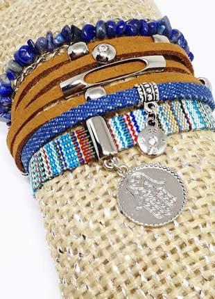 Mix de pulseiras estilo boho chic com pedra natural de lápis lazúli
