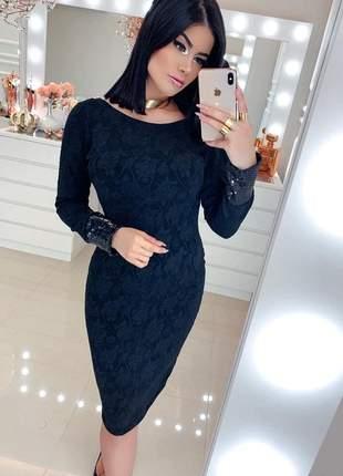 Vestido midi preto tubinho elegante