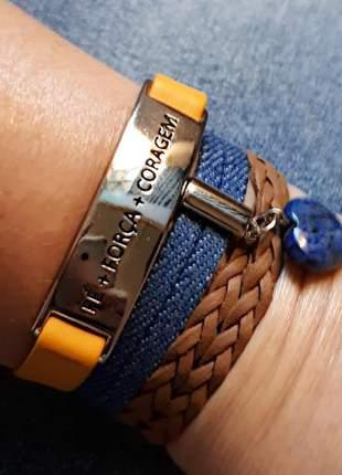 Mix de pulseiras com pingente de pedra natural de lápis lazúli