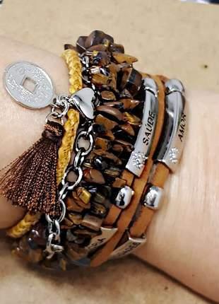 Mix de pulseiras tipo boho chic com cascalhos de pedra natural de olho de tigre
