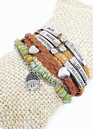 Mix de pulseiras estilo boho com pedra natural de turquesa