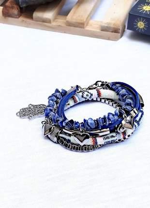 Mix de pulseiras com pedra natural de sodalita