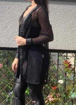 Jaqueta arrastão comprida tule