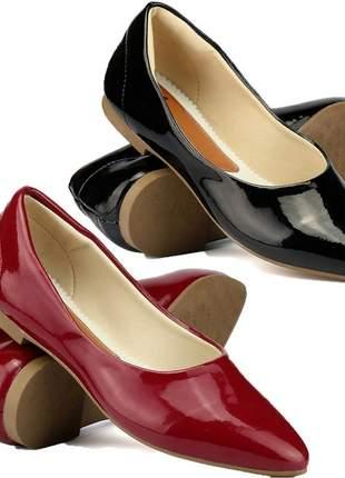 Kit 2 pares de sapatilhas bico fino verniz