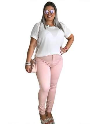 Calça jeans feminia plus size rosê cós alto