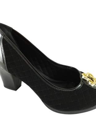 Peep toe confort sapatoweb matelassê preto