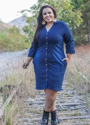 f0ee849c1a2b Vestido plus size em manga longa feminina em jeans com lycra e botoes