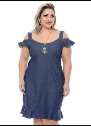 Vestido jeans feminino plus size estilo ciganinha regata