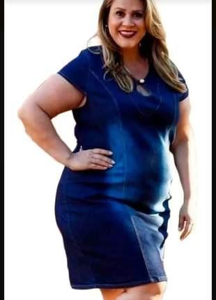 Vestido jeans com lycra feminino com detalhes gola plus size
