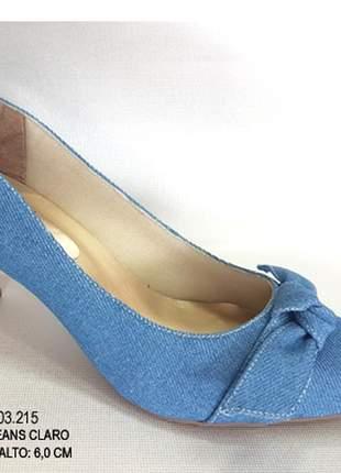Sapato feminino scarpin azul salto médio 6cm