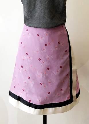 Saia transpassada de seda, estampa pink flamingo coleção alice!