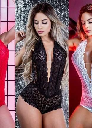 Body sensual preto vermelho branco p m g gg renda decote 2019