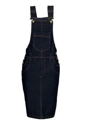 Jardineira saia jeans preta