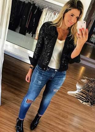 Jaqueta jeans paetê