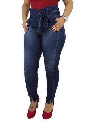 Calça jeans com cinto plus size laço clochard feminina cintura alta !