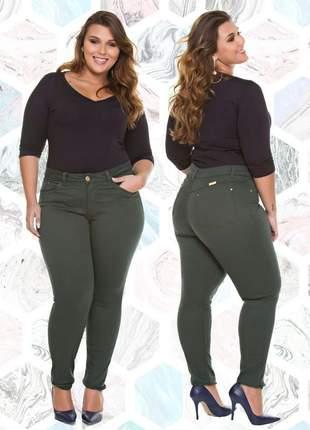 Calça jeans verde militar feminina plus size tamanhos grandes com lycra!