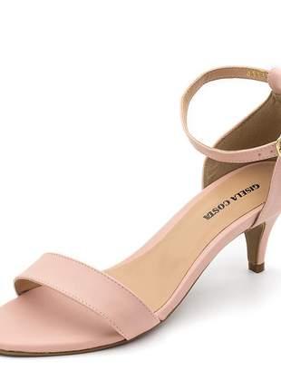 Sandália feminina social salto baixo fino em napa rosa bebe