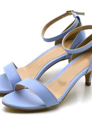 Sandália feminina social salto baixo fino em napa azul serenity