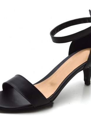 Sandália feminina social salto baixo fino em napa preto