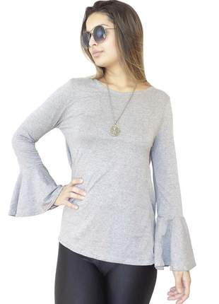 Blusa dress code moda manga longa cinza