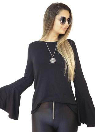 Blusa dress code moda manga longa preto
