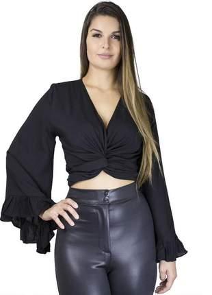 Cropped dress code moda 3 em 1 preta