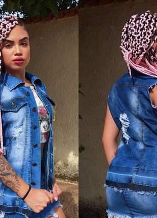 Maxi colete fenda brasil jeans