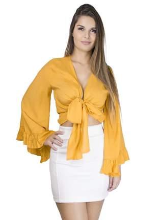Cropped dress code moda 3 em 1 mostarda