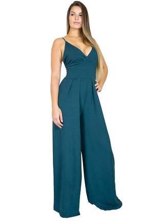 Macacão dress code moda pantalona verde