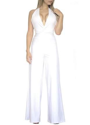 Macacão dress code moda longo branco