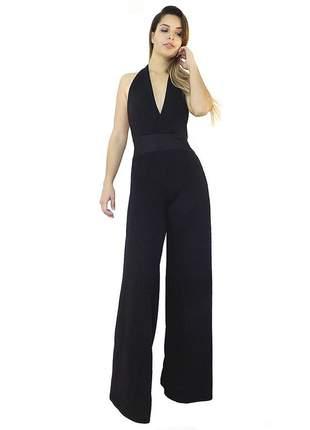 Macacão dress code moda longo preto
