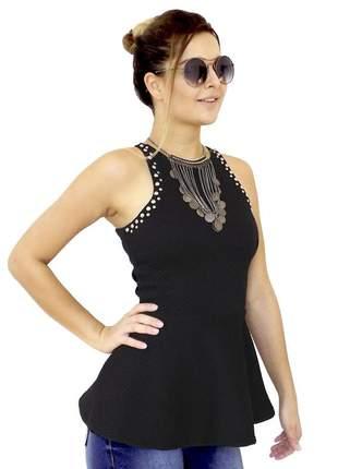 Blusa dress code moda peplum preta