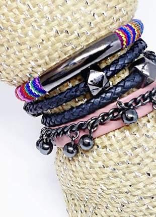 Mix de pulseiras estilo boho com hematita natural