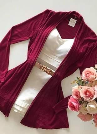Cardigan alongado modal vermelho