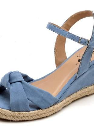 Sandália anabela nó azul claro salto baixo corda