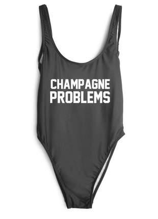 Maiô com frase champagne problems