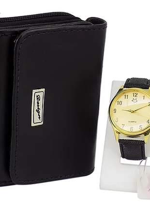 Kit relógio + carteira casual