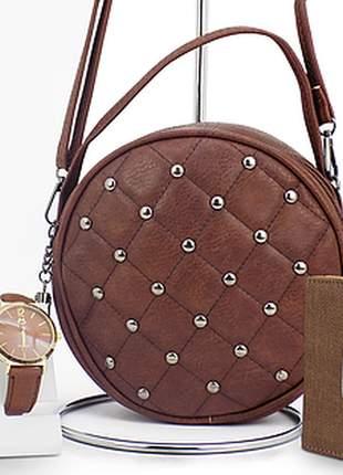 Kit casual: bolsa + carteira + relógio
