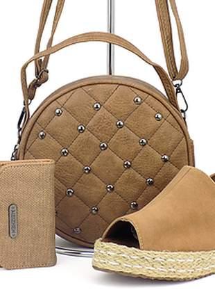 Kit sandália flatform + bolsa + carteira casual