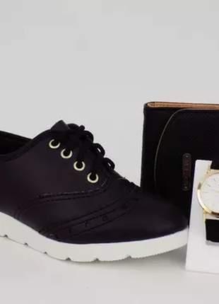 Kit sapatênis oxford + relógio + carteira casual