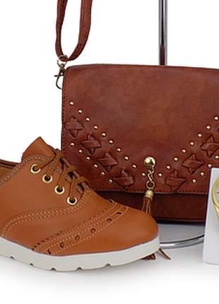 Kit sapatênis oxford + bolsa + relógio casual
