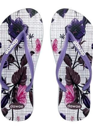 Chinelo feminino slim dawae floral lilás e branco