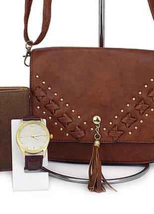 Kit bolsa tiracolo + relógio + carteira casual