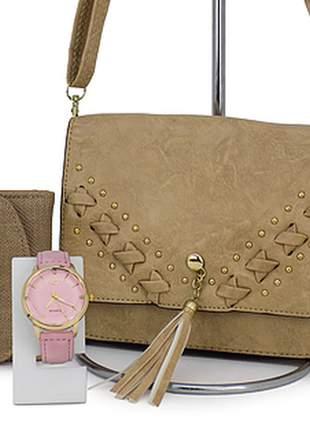 Kit bolsa transversal + relógio + carteira casual