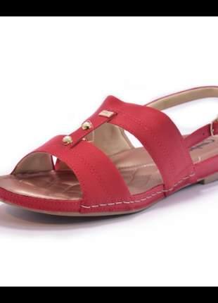 Sandália feminina rasteirinha dakota campesi vermelha numeração especial 40, 41 e 42