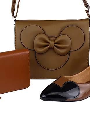 Kit sapatilha e bolsa da minnie + carteira luxo